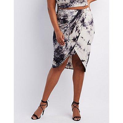 Plus Size Tie-Dye Draped Asymmetrical Skirt