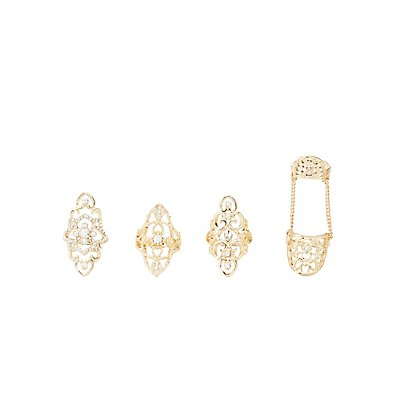 Embellished Filigree Rings - 4 Pack