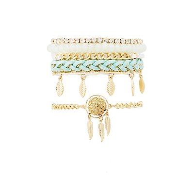 Beaded, Feather & Chain Mixed Bracelets - 6 Pack