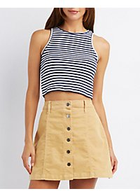 Striped Ribbed Crop Top