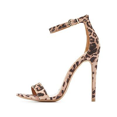Leopard Print Two-Piece Dress Sandals