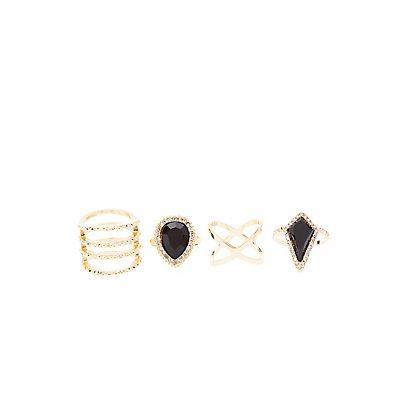 Gemstone & Caged Rings - 4 Pack