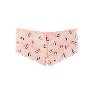 Sheer Printed Lace Cheeky Panties