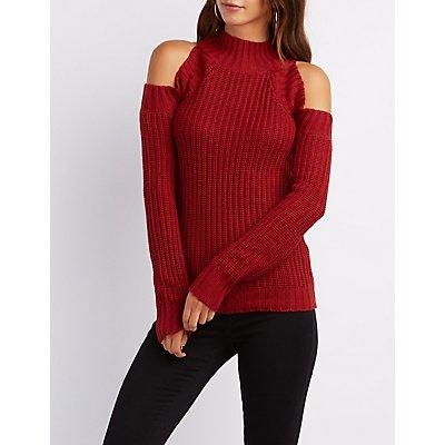 Cold Shoulder Mock Neck Sweater