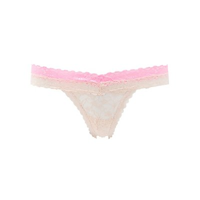 Two-Tone Lace Thong Panties