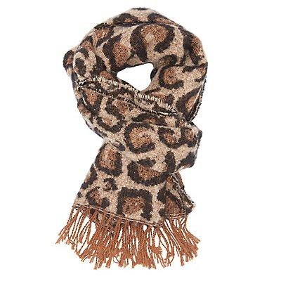 Leopard Oblong Fringe Scarf