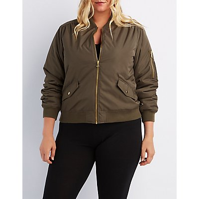 Plus Size Padded Bomber Jacket