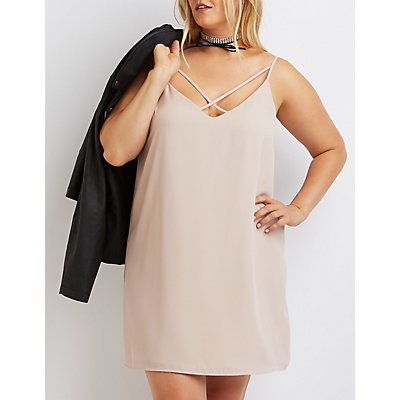 Plus Size Strappy Caged Shift Dress