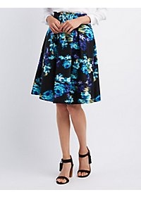 Abstract Floral Print Midi Skirt