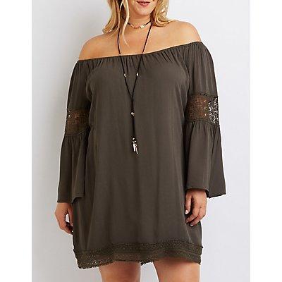 Plus Size Crochet-Trim Off-The-Shoulder Dress