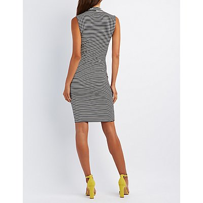 Striped Crossover Bodycon Dress