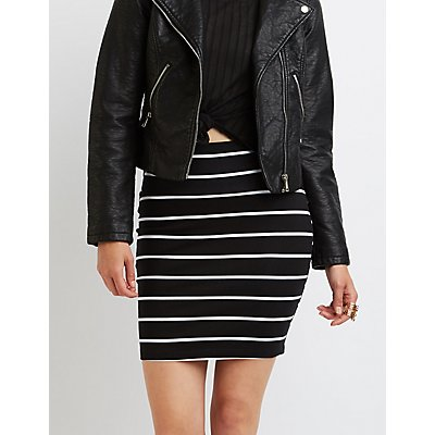 Striped Bodycon Mini Skirt