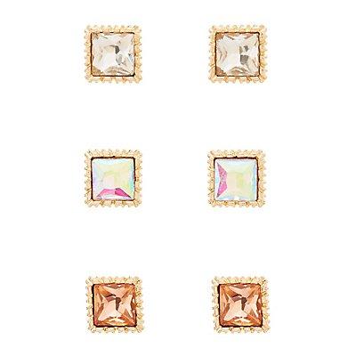 Faceted Gemstone Stud Earrings - 3 Pack
