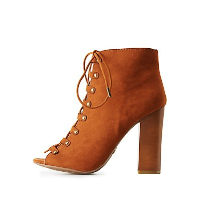 Bamboo Lace-Up Ankle Booties