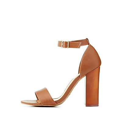 Bamboo Two Piece Chunky Heel Sandals