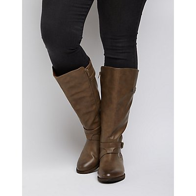 Wide Width Knee-High Moto Boots | Charlotte Russe
