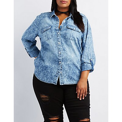 Plus Size Acid Wash Button-Up Top