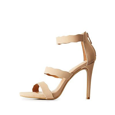 Scalloped Three-Piece Dress Sandals