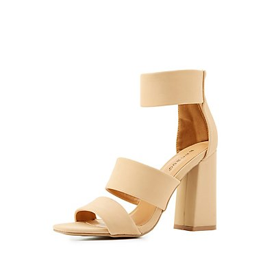 Bamboo Three Piece Chunky Heel Sandals