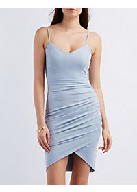 Faux Suede Tulip Hem Bodycon Dress