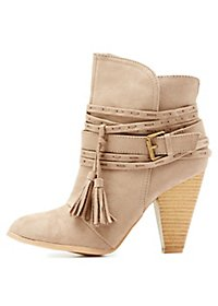 Qupid Buckled Tassel-Tie Booties