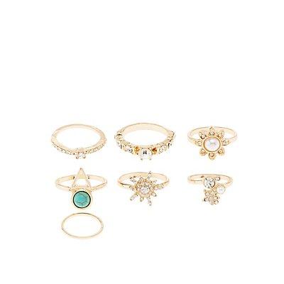 Embellished Rings - 7 Pack