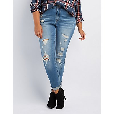 "Plus Size Refuge ""Boyfriend"" Destroyed Jeans"