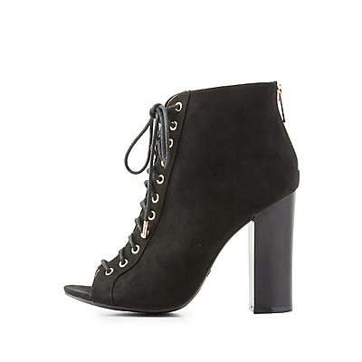 Lace-Up Peep Toe Booties