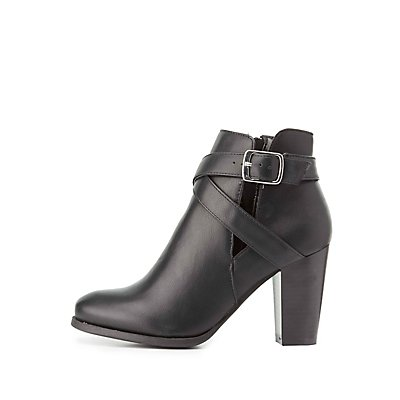 Faux Leather Cut-Out Ankle Booties