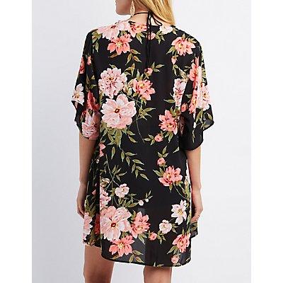 Sheer Floral Print Kimono