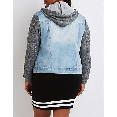 Plus Size Refuge Marled-Trim Denim Jacket