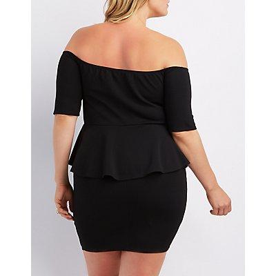 Plus Size Off-The-Shoulder Peplum Dress