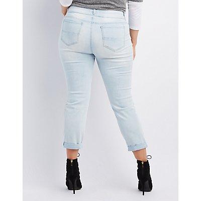 Plus Size Refuge Crop Boyfriend Destroyed Jeans