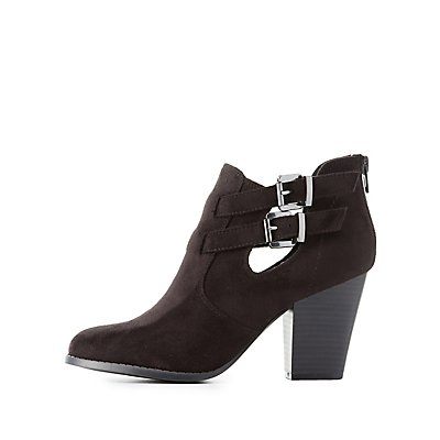 Buckled Cut-Out Ankle Booties