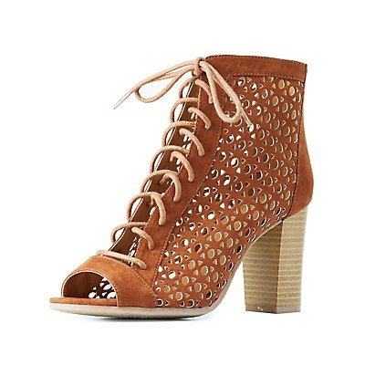 Qupid Laser Cut Lace-Up Booties
