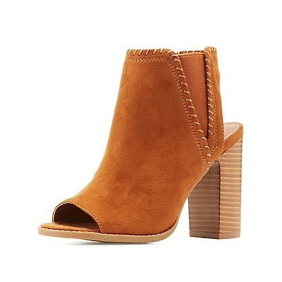 Whipstitch Peep Toe Booties