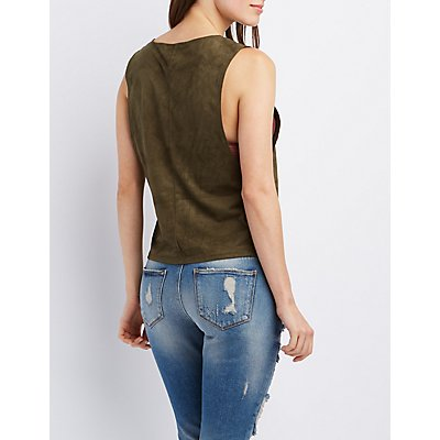 Faux Suede Graphic Tank Top