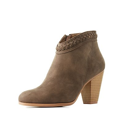 Braided-Trim Ankle Booties