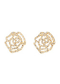 Rhinestone Flower Filigree Stud Earrings