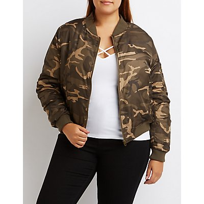 Plus Size Camo Bomber Jacket