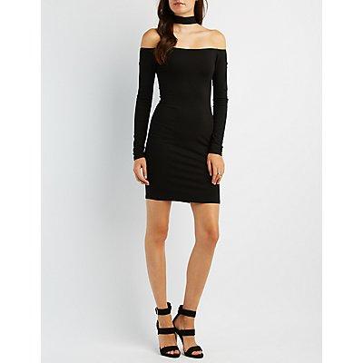 Mock Neck Off-The-Shoulder Bodycon Dress