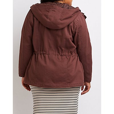 Plus Size Hooded Drawstring Anorak Jacket