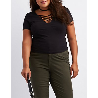 Plus Size Caged Crop Top