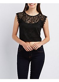 Scalloped Lace Crop Top
