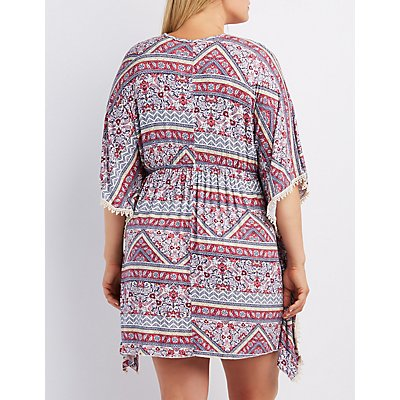 Plus Size Crochet-Trim Kaftan Dress