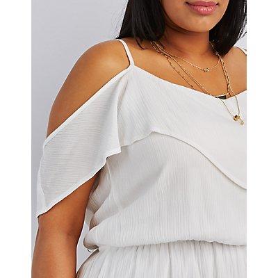 Plus Size Cold Shoulder Dress