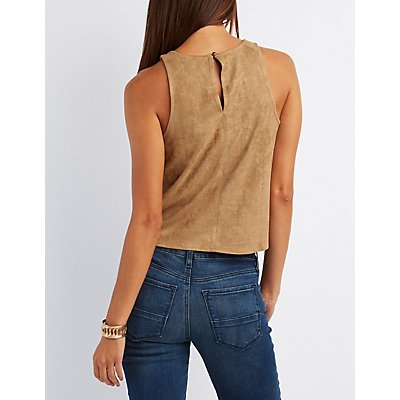 Faux Suede Laser Cut Tank Top