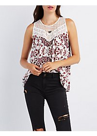 Printed Crochet-Trim Top