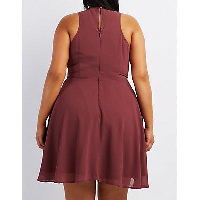 Plus Size Crochet-Trim Skater Dress