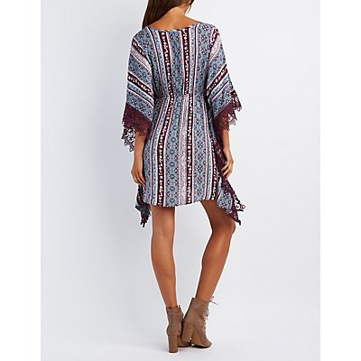 Crochet-Trim Kaftan Dress